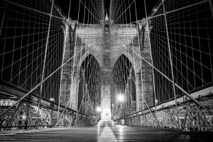 Fotótapéta: Brooklyn Bridge (černobílý detail) - 184x254 cm