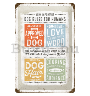 Fémtáblák: Dog Rules - 30x20 cm