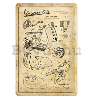 Fémtáblák: Vespa GS (Parts Sketches) - 30x20 cm