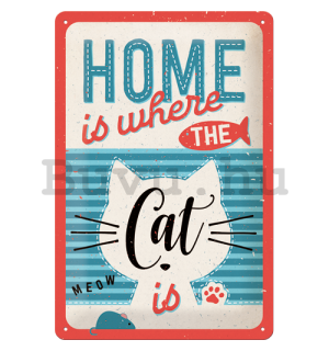 Fémtáblák: Home is where the Cat is - 30x20 cm