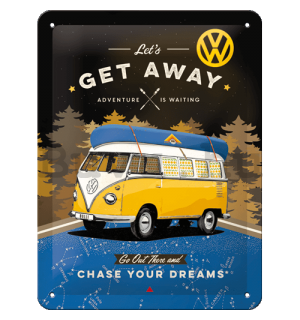 Fémtáblák: VW Bulli Let's Get Away (Night) - 15x20 cm