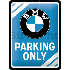 Fémplakát – BMW Parking Only (kék)